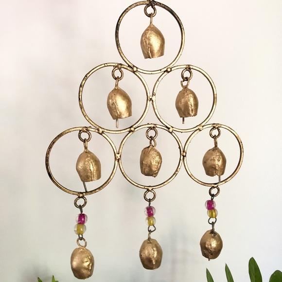 Vintage India Gold Metal Wind Chime Boho Decor